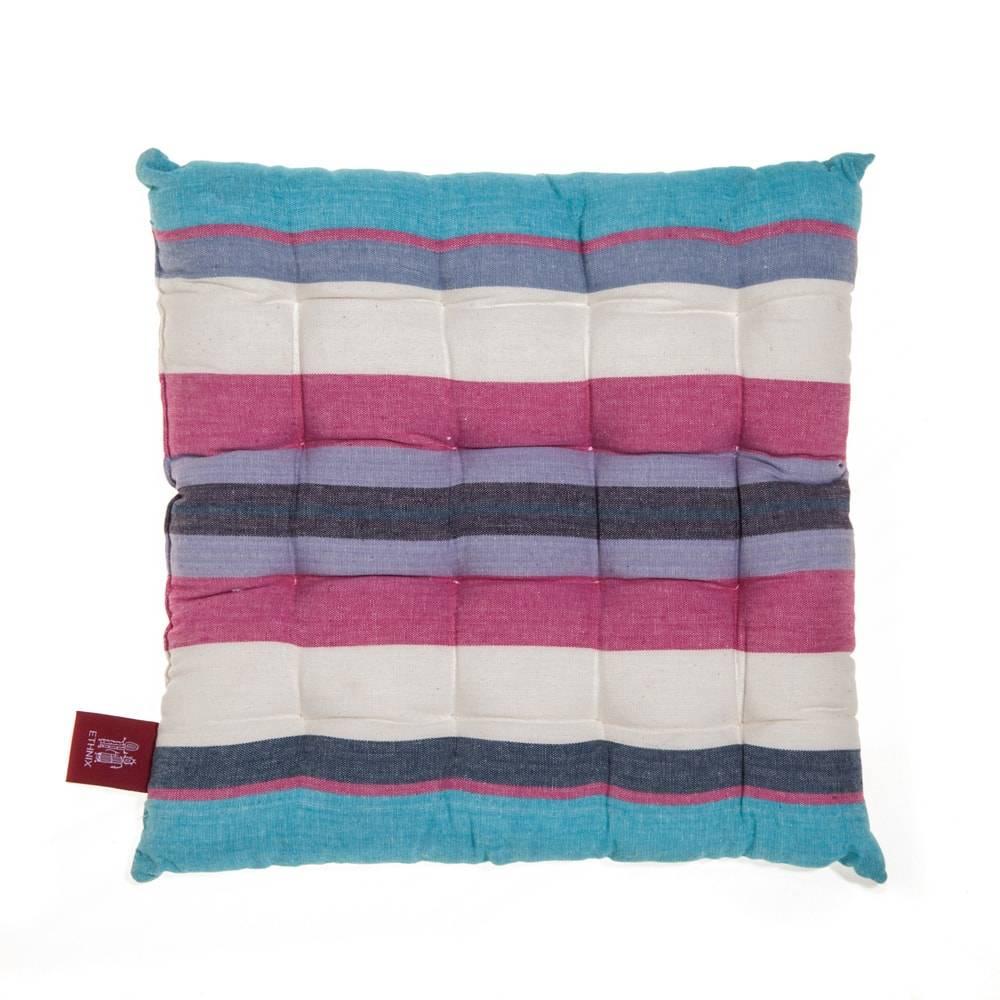 Almofada Listras Rosa/Azul em Algodão - 40x40 cm