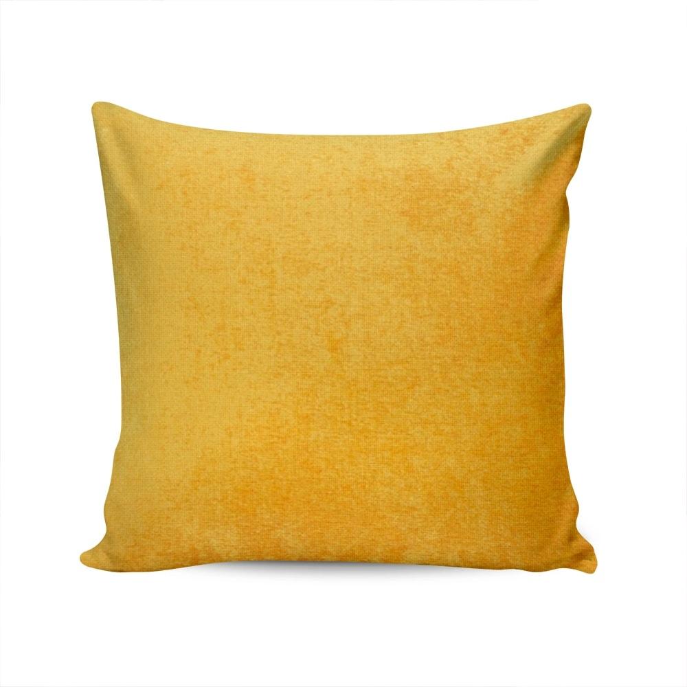 Almofada Madri Amarela com Capa em Poliéster - 45x45 cm