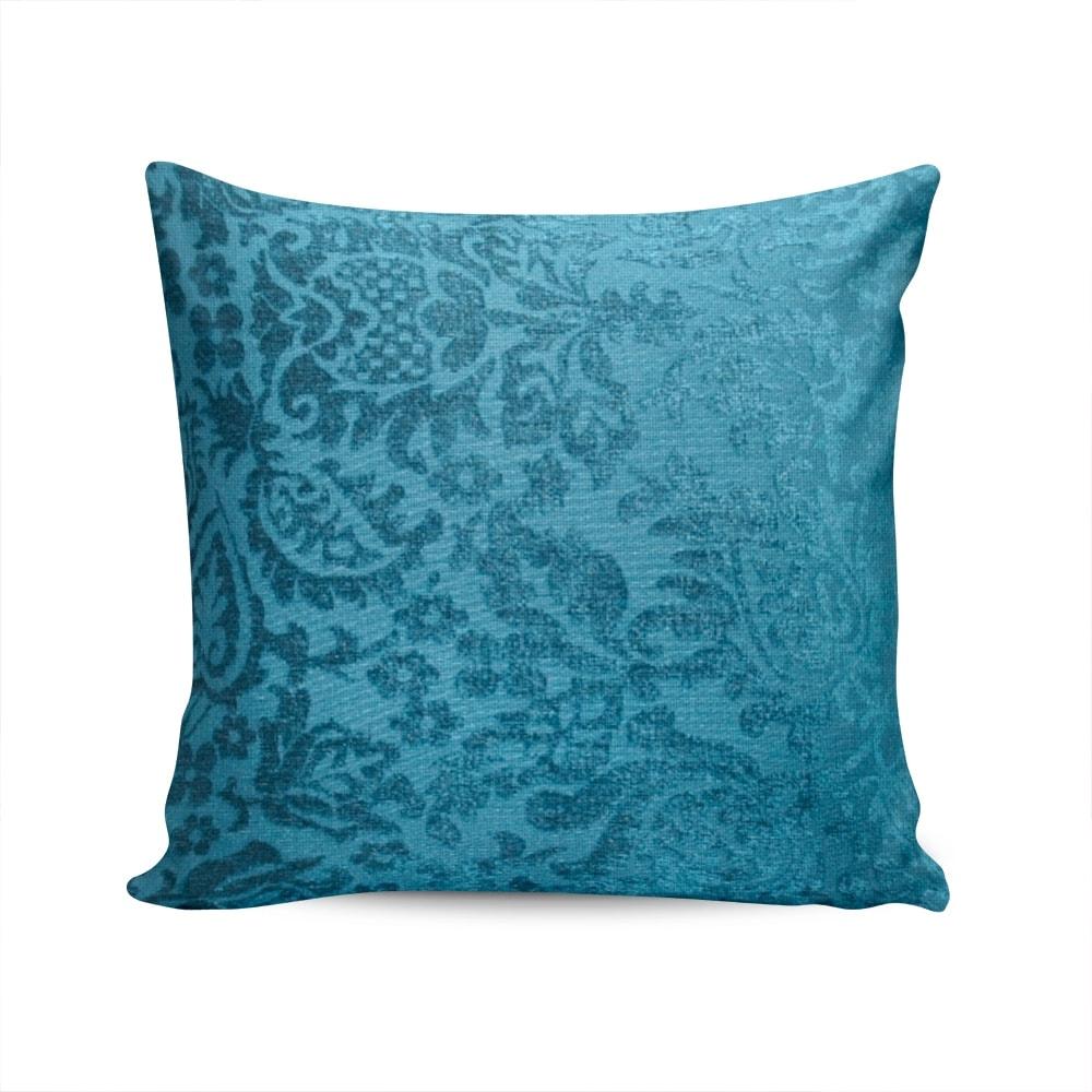 Almofada Madri Floral Azul com Capa em Poliéster - 45x45 cm