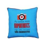 Almofada Momentos Azul em Poliester - 40x40 cm