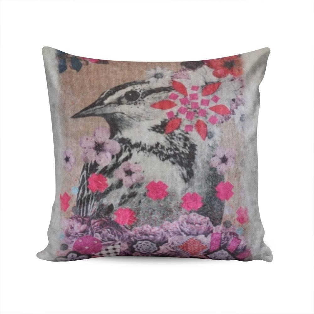 Almofada Napole Birds With Flowers Capa em Poliéster - 50x50 cm