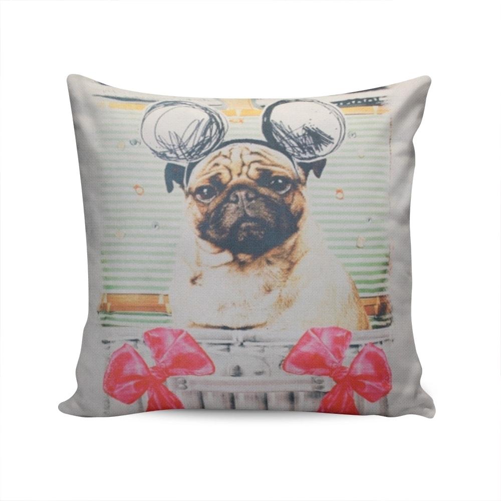 Almofada Napole Cãozinho Embalado p/ Presente Capa Branca em Poliéster - 50x50 cm