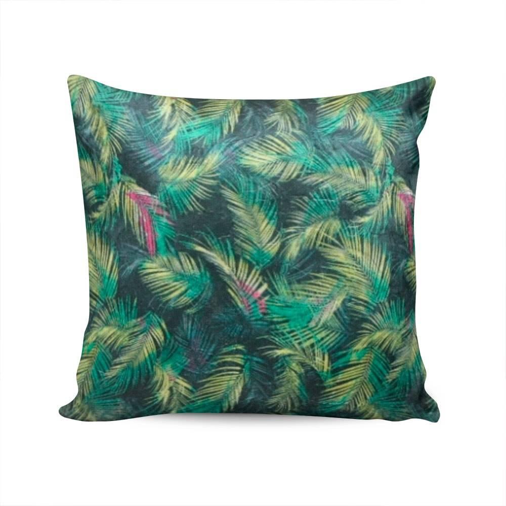 Almofada Napole Folhas de Palmeira Capa em Poliéster - 50x50 cm