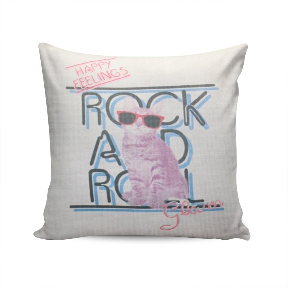 Almofada Napole Gatinho Rock and Roll Capa Branca em Poliéster - 50x50 cm