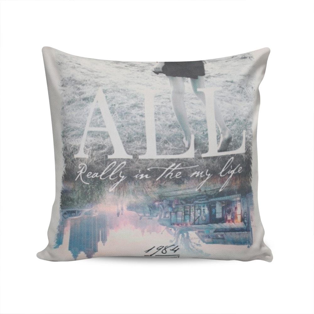 Almofada Napole Minha Vida Capa Branca em Poliéster - 50x50 cm