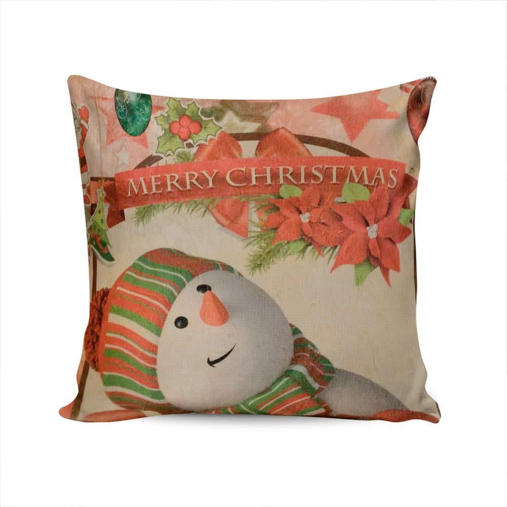 Almofada Napole Natal Boneco de Neve Merry Christmas - Capa em Poliéster - 50x50 cm