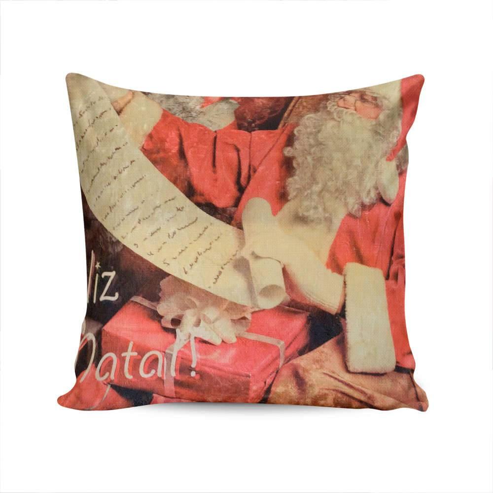 Almofada Napole Natal Papai Noel com Carta e Presente - Capa em Poliéster - 50x50 cm