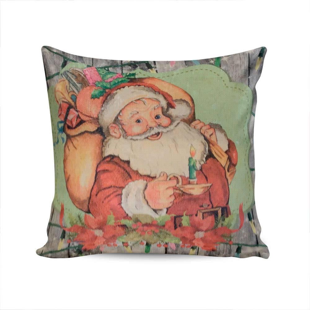 Almofada Napole Natal Papai Noel com o Saco de Presentes - Capa em Poliéster - 50x50 cm