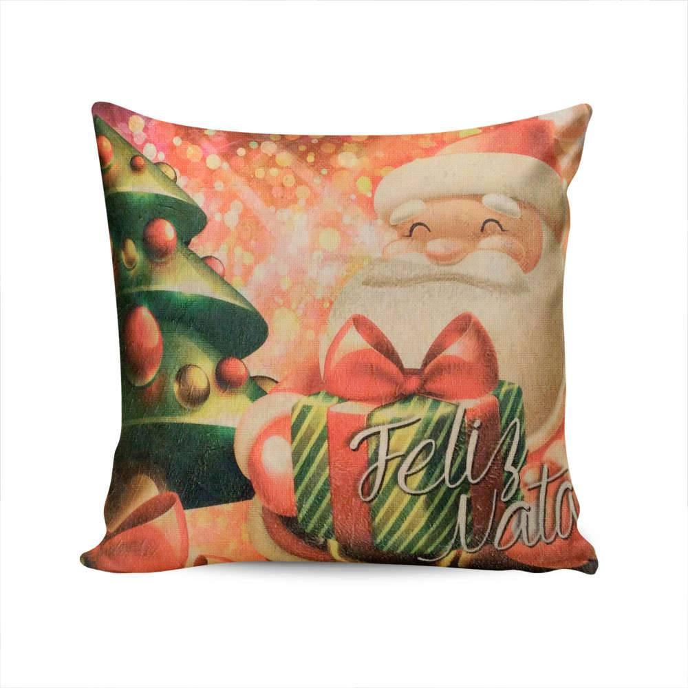 Almofada Napole Natal Presente do Papai Noel - Capa em Poliéster - 50x50 cm
