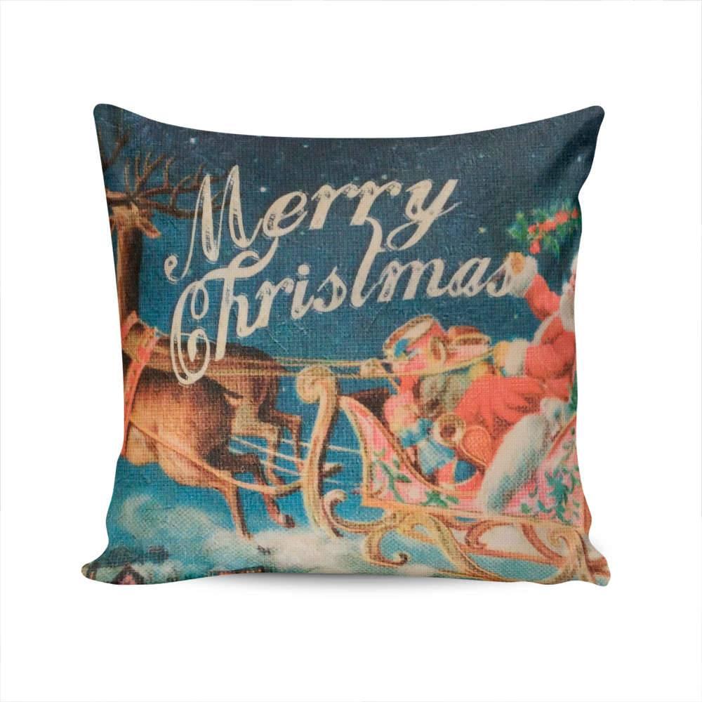 Almofada Napole Natal Trenó do Papai Noel - Capa em Poliéster - 50x50 cm