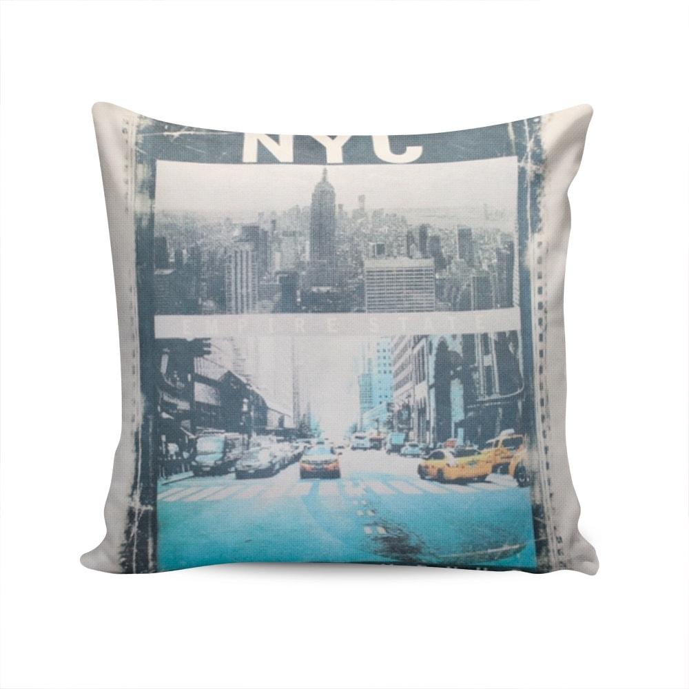 Almofada Napole New York City Capa Branca em Poliéster - 50x50 cm