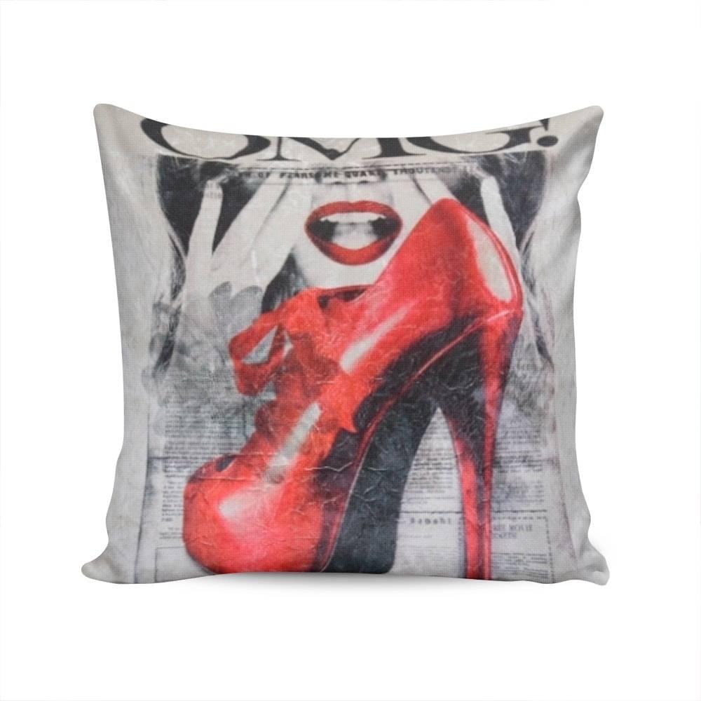 Almofada Napole OMG Sapato Vermelho Capa em Poliéster - 50x50 cm
