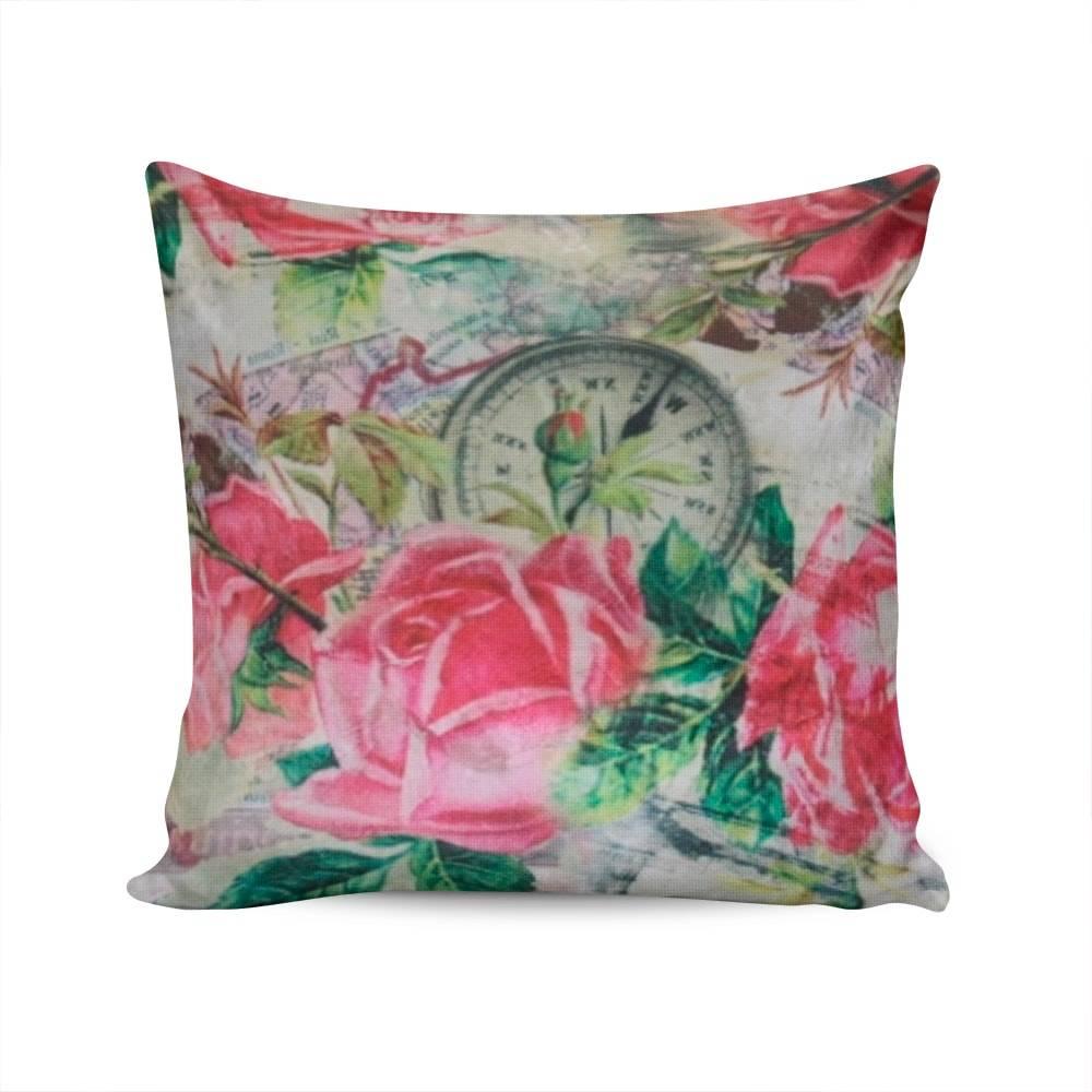 Almofada Napole Rosas Capa em Poliéster - 50x50 cm