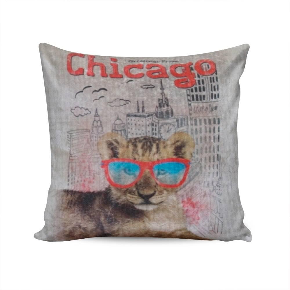 Almofada Napole Saudações de Chicago Capa em Poliéster - 50x50 cm