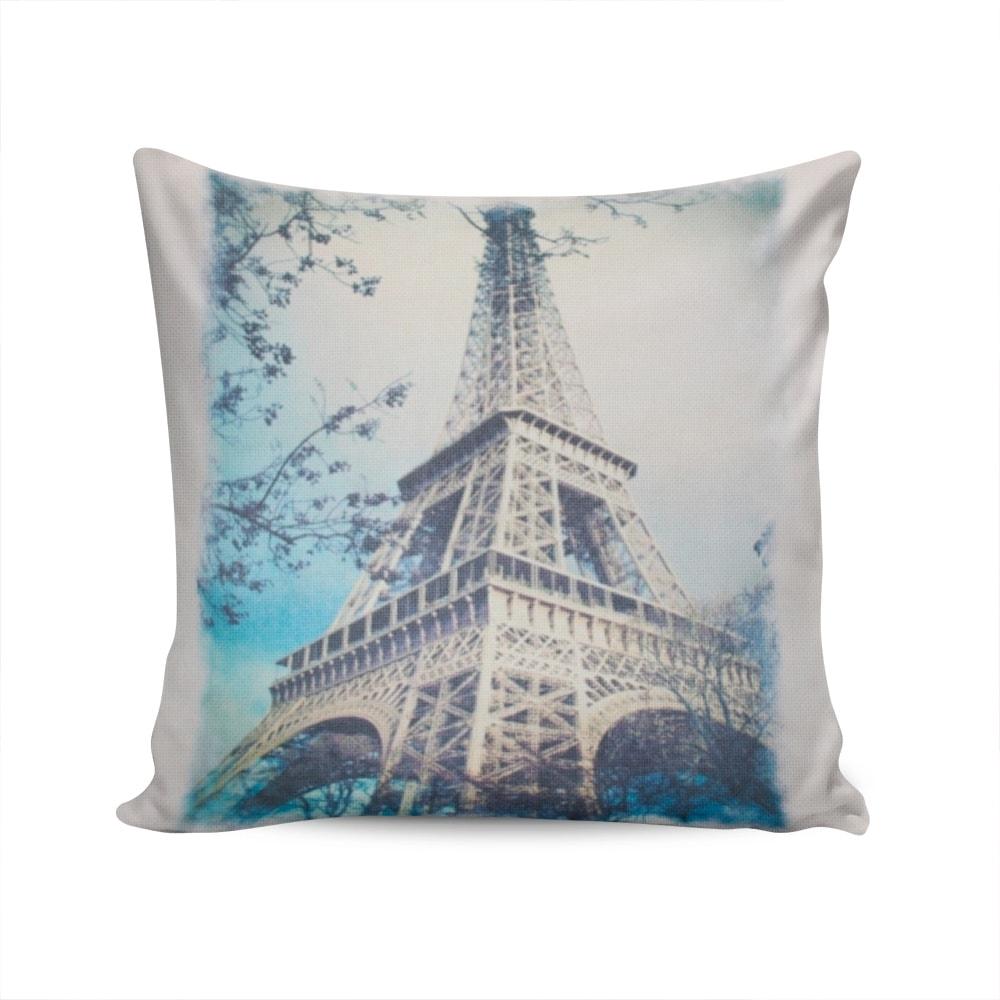 Almofada Napole Torre Eiffel Capa Branca em Poliéster - 50x50 cm