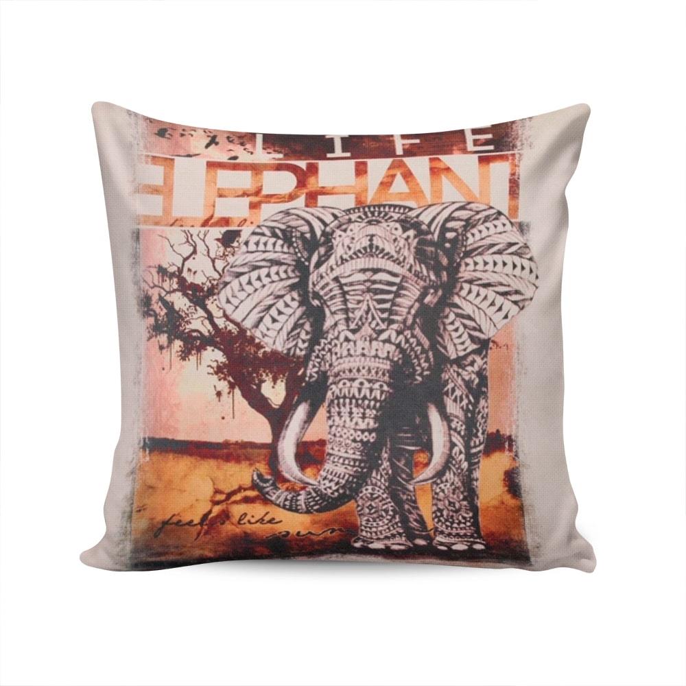 Almofada Napole Vida de Elefante Capa Bege em Poliéster - 50x50 cm