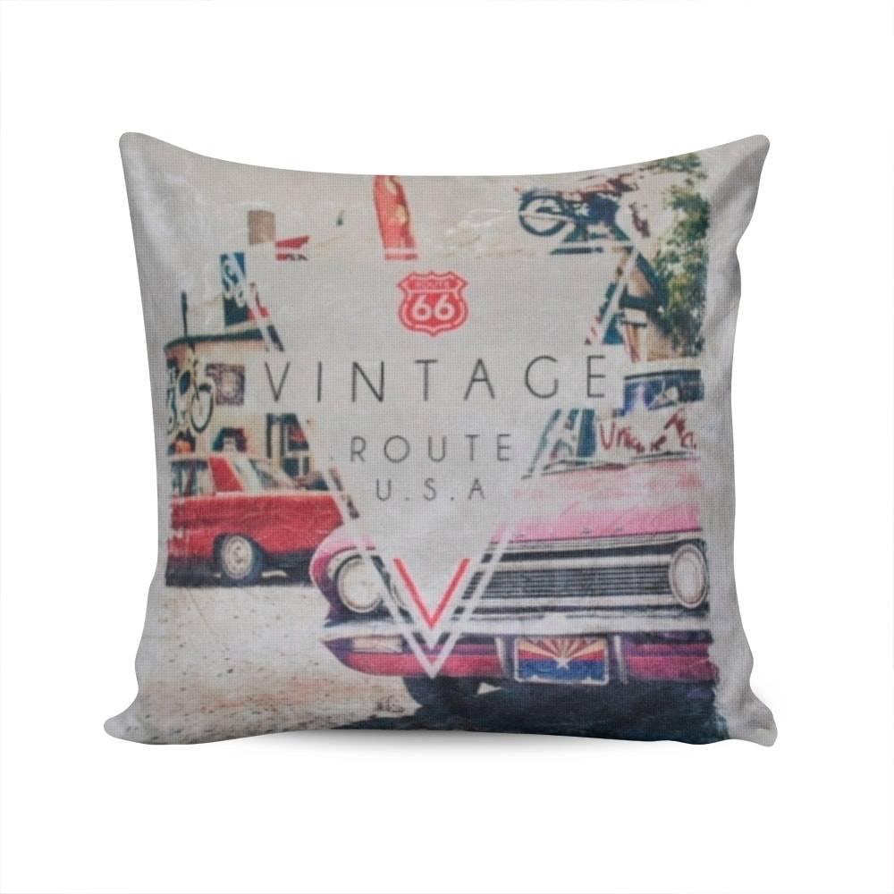 Almofada Napole Vintage Route 66 Capa em Poliéster - 50x50 cm