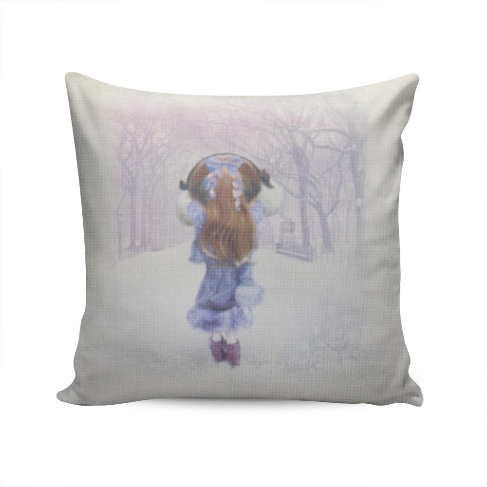 Almofada Napole Walking Girl Capa Branca em Poliéster - 50x50 cm