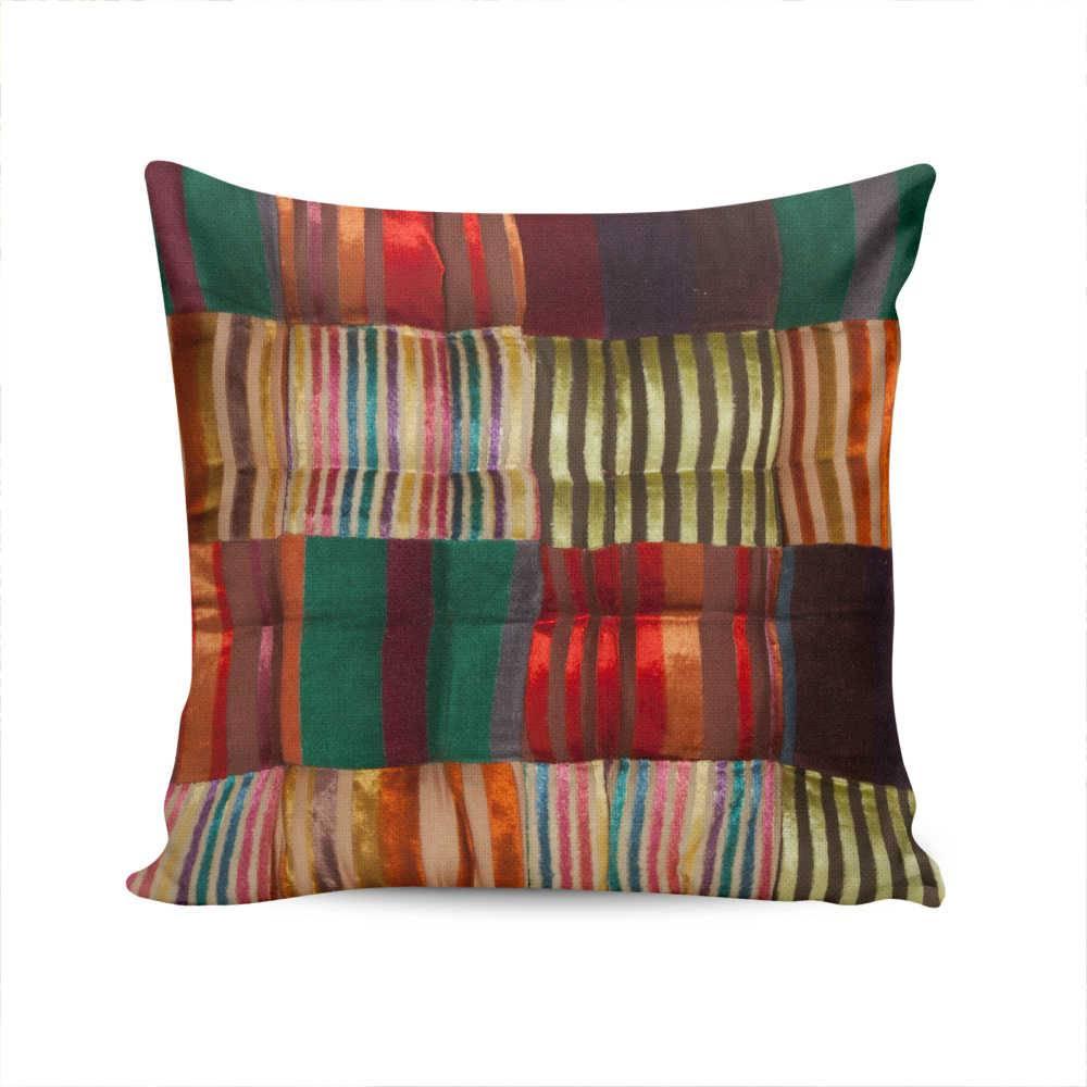 Almofada Patch Velvet Listras Multicolorido em Algodão - 40x40 cm