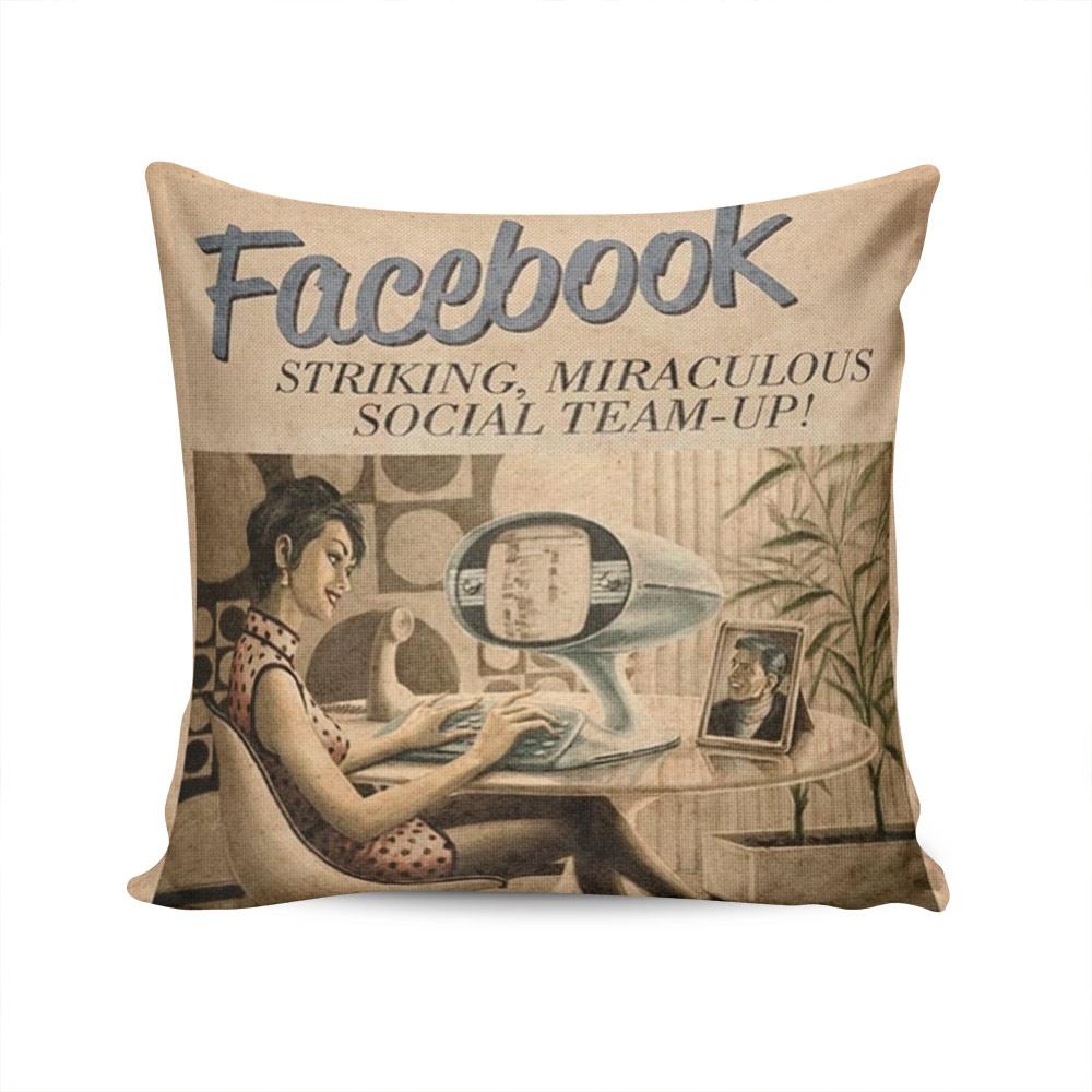 Almofada Propaganda Retrô Facebook - 37x37 cm