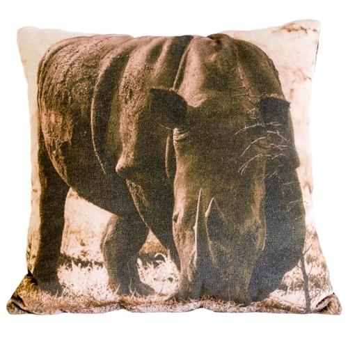 Almofada Rinoceronte África em Tecido - 45x45 cm