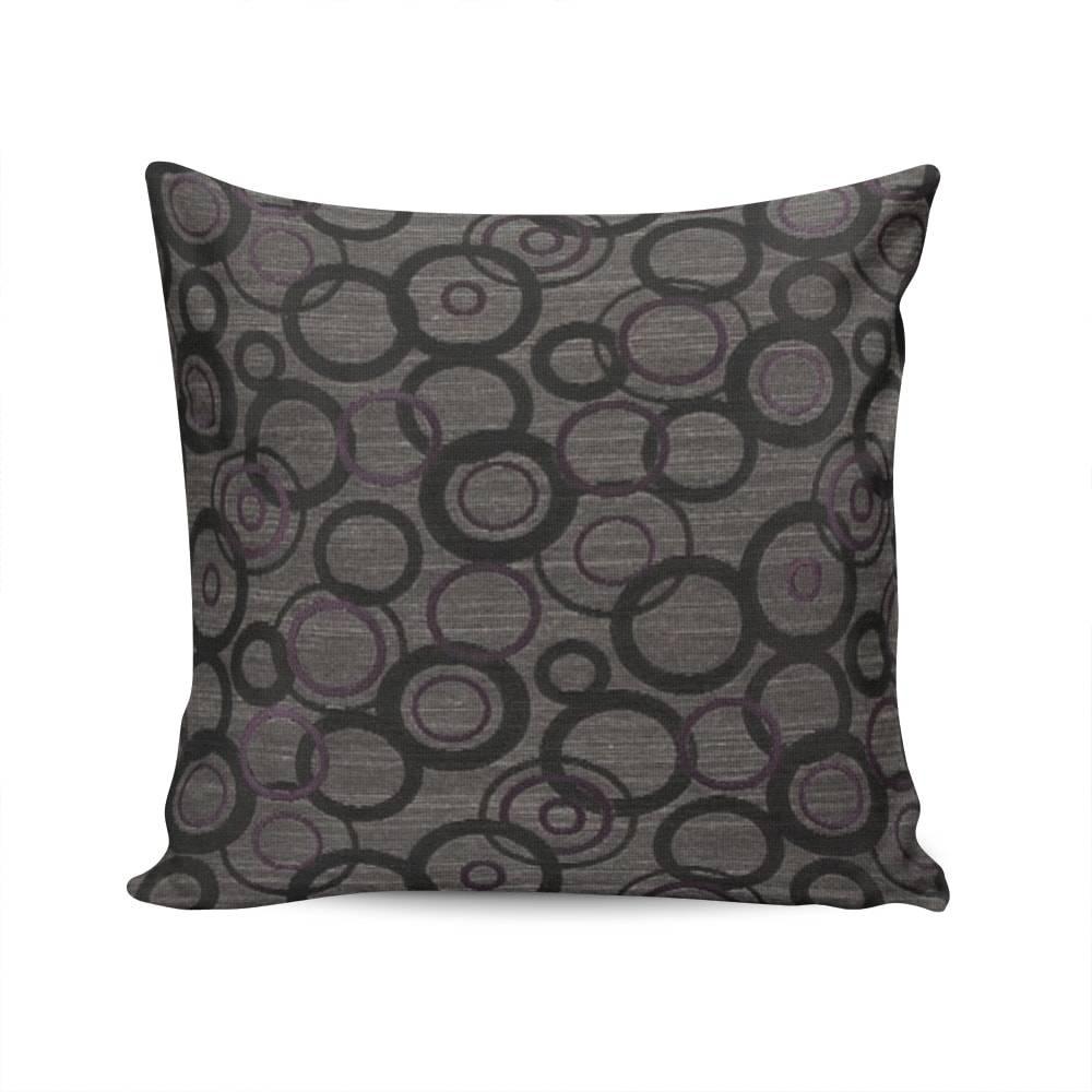 Almofada Roma Estampa Círculos Cinza e Roxo com Capa em Algodão - 45x45 cm