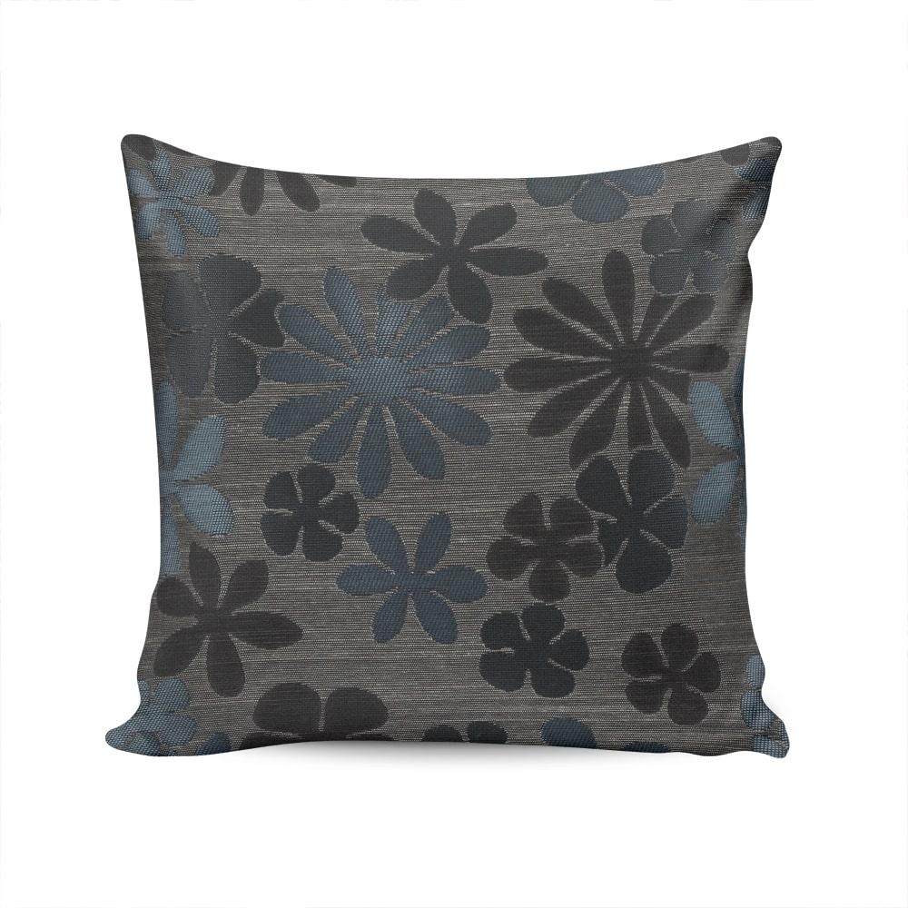 Almofada Roma Estampa Floral Cinza e Azul com Capa em Algodão - 45x45 cm