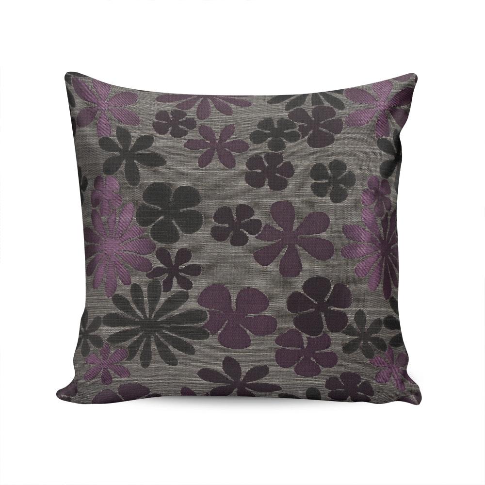 Almofada Roma Estampa Floral Cinza e Roxo com Capa em Algodão - 45x45 cm