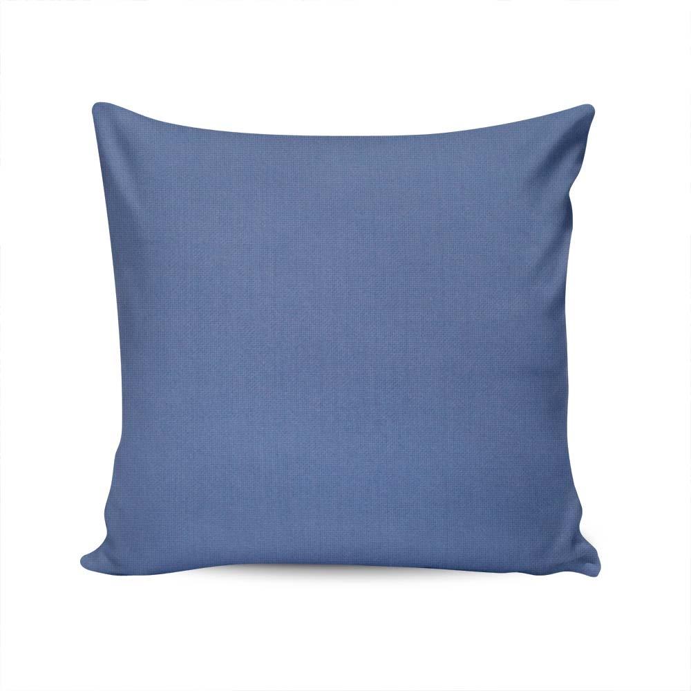 Almofada Sarja Lisa Azul Capa em Algodão - 45x45 cm
