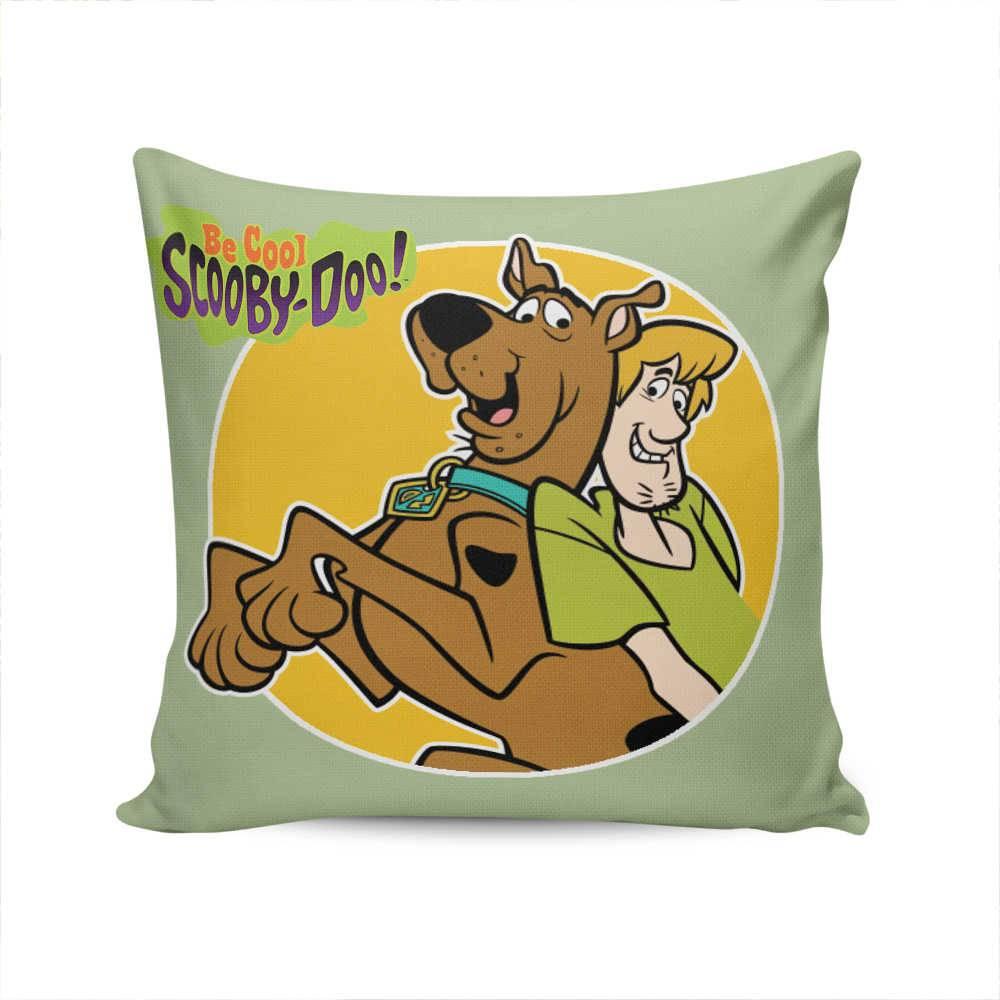 Almofada Scooby-Doo e Salsicha Fundo Verde em Tecido Seletel - 37x37 cm