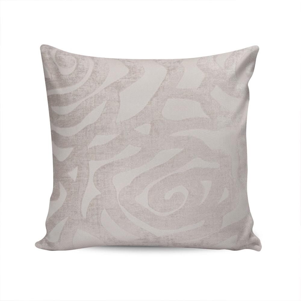 Almofada Toscana Textura Floral Bege Claro c/ Capa em Poliéster - 45x45 cm