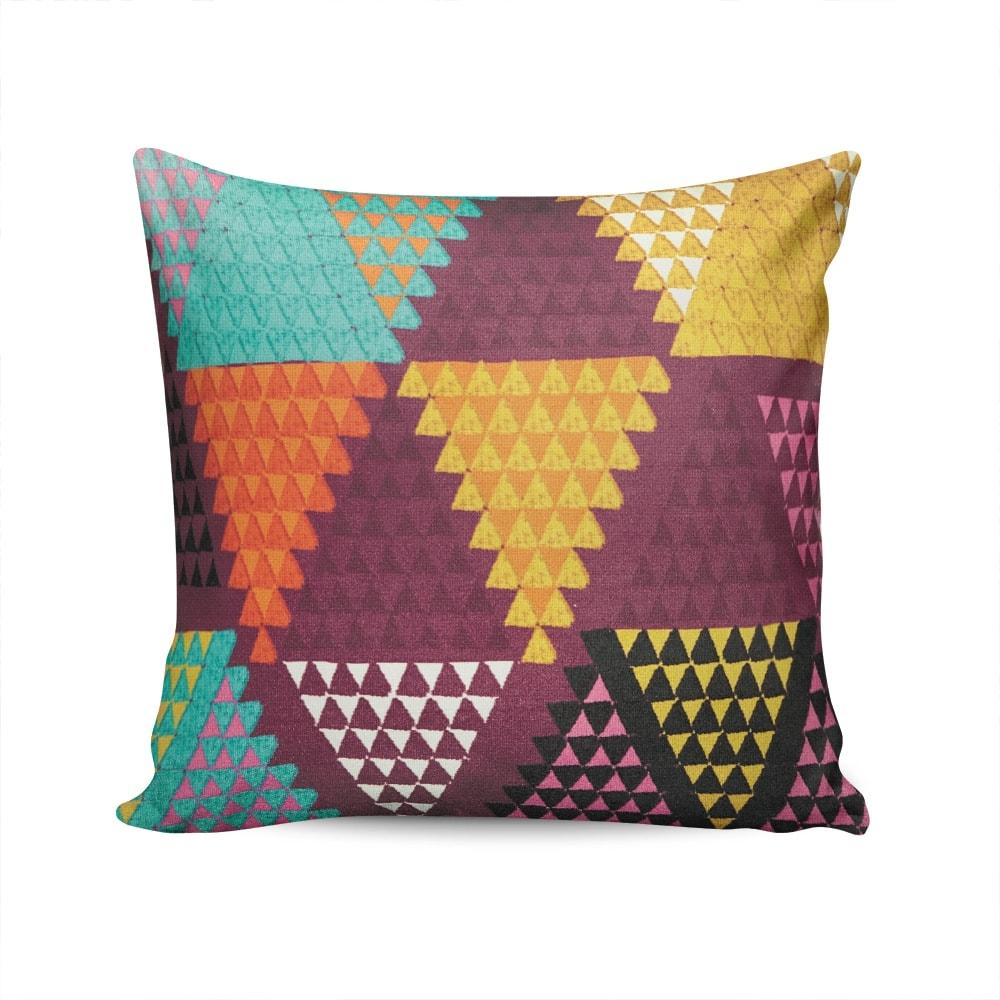 Almofada Triângulos Colorida em Camurça Soft - 45x45 cm