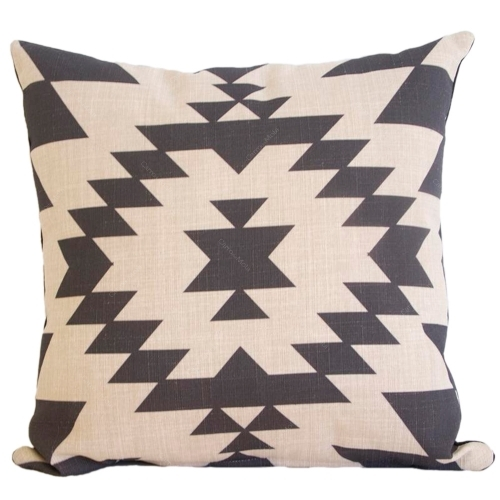 Almofada Tribal Preto e Branco em Tecido - 45x45 cm