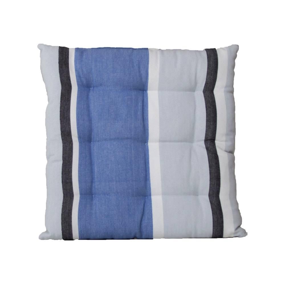 Almofada Trinity Listras Azul/Cinza em Algodão - 40x40 cm