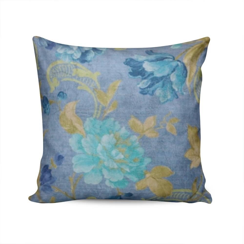 Almofada Valencia Azul Floral Capa em Poliéster - 45x45 cm