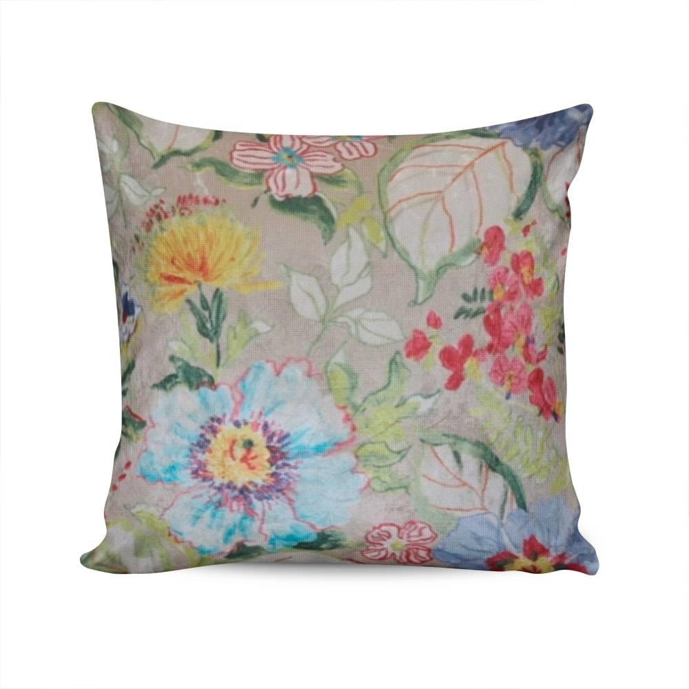 Almofada Valencia Bege Estampa Floral Capa em Poliéster - 45x45 cm
