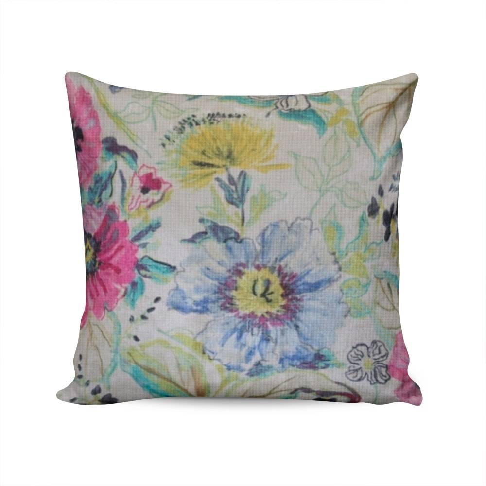 Almofada Valencia Estampa Floral Colorida Capa em Poliéster - 45x45 cm