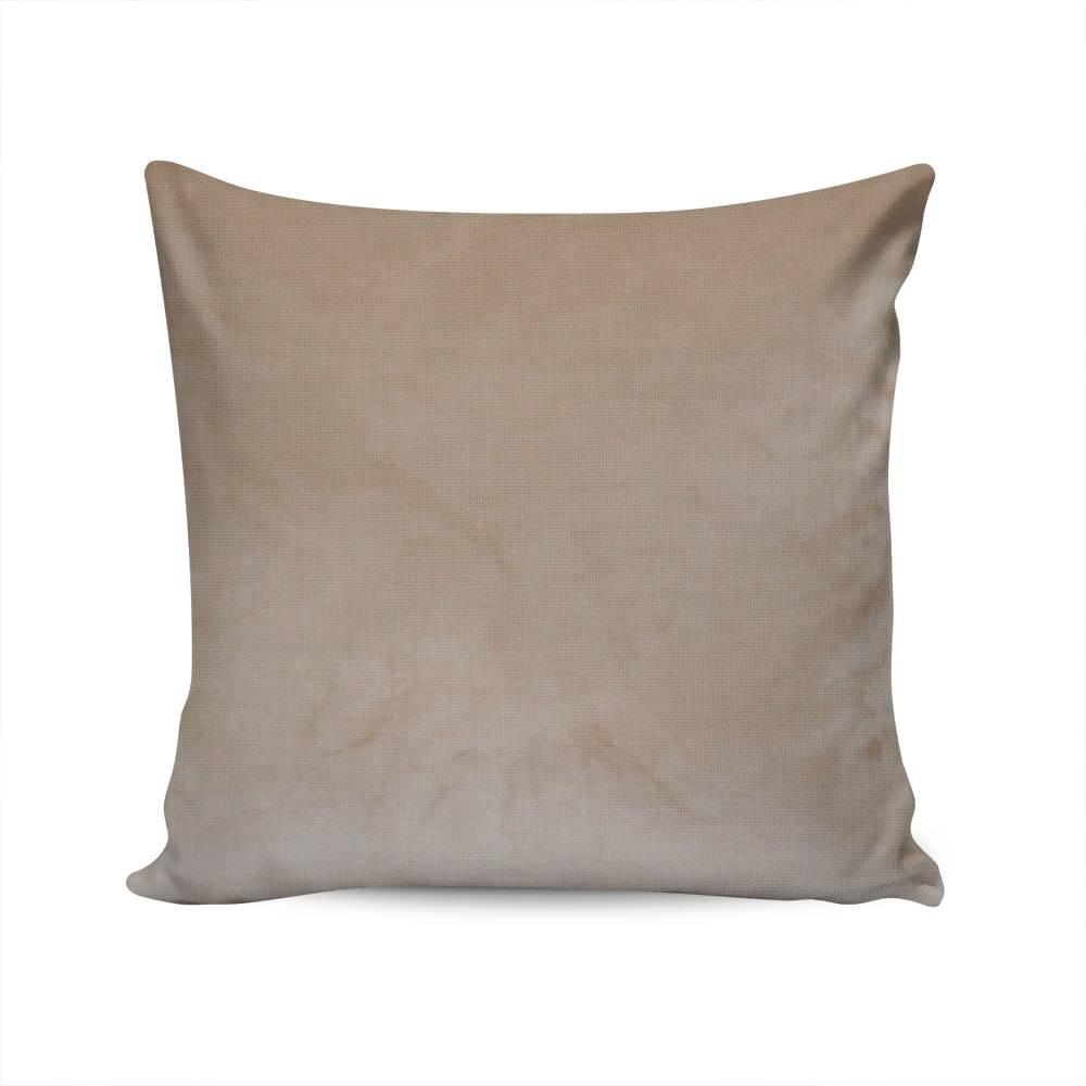 Almofada Veludo Liso Bege Capa em Poliéster - 45x45 cm