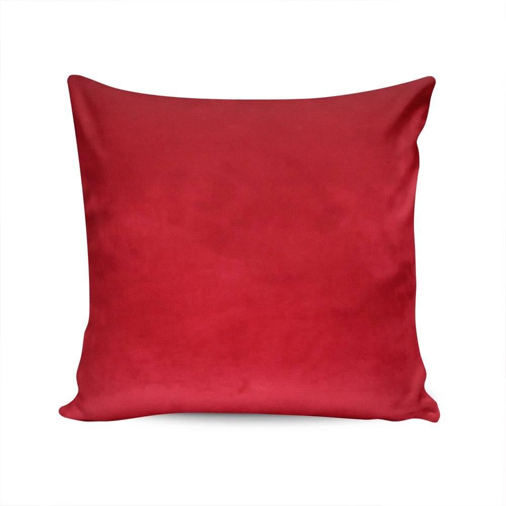 Almofada Veludo Liso Vermelha Capa em Poliéster - 45x45 cm