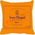 Almofada Veuve Clicquot Laranja em Poliéster - 43x43 cm