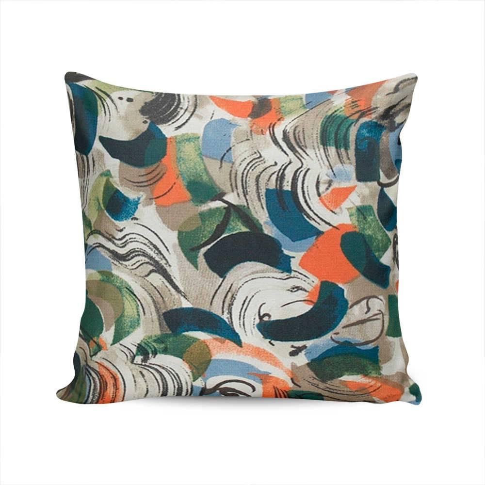 Almofada Waterblock Abstrata Colorida com Capa em Algodão - 45x45 cm