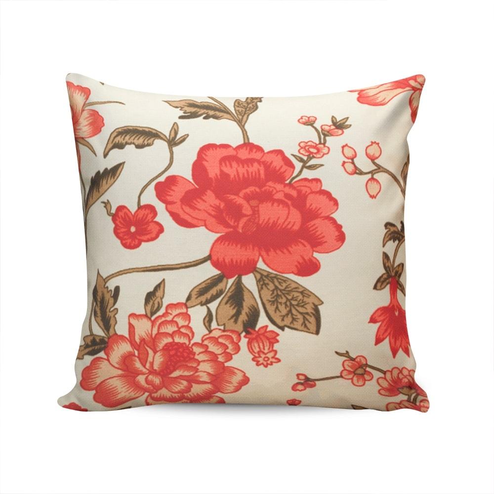 Almofada Waterblock Floral Bege/Vermelha Capa em Algodão - 45x45 cm