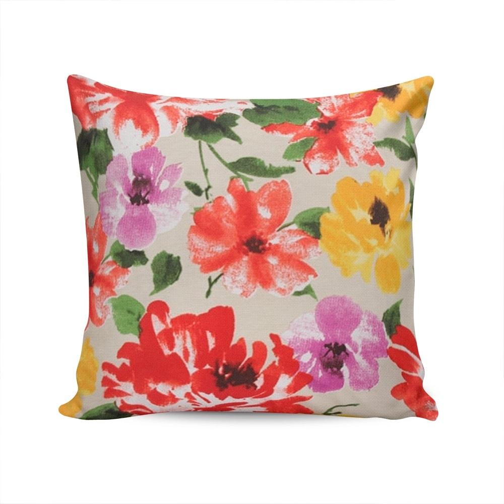 Almofada Waterblock Floral Colorida com Capa em Algodão - 45x45 cm