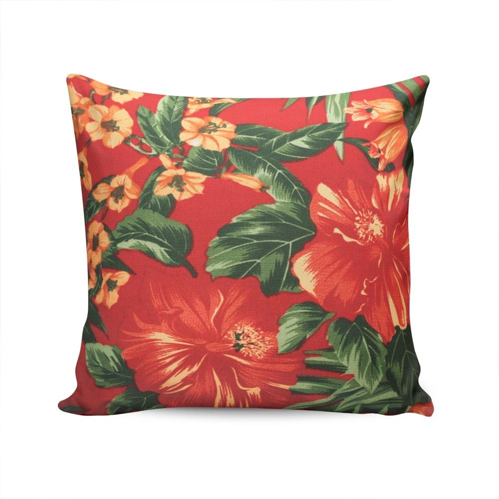 Almofada Waterblock Floral Vermelha Capa em Algodão - 45x45 cm