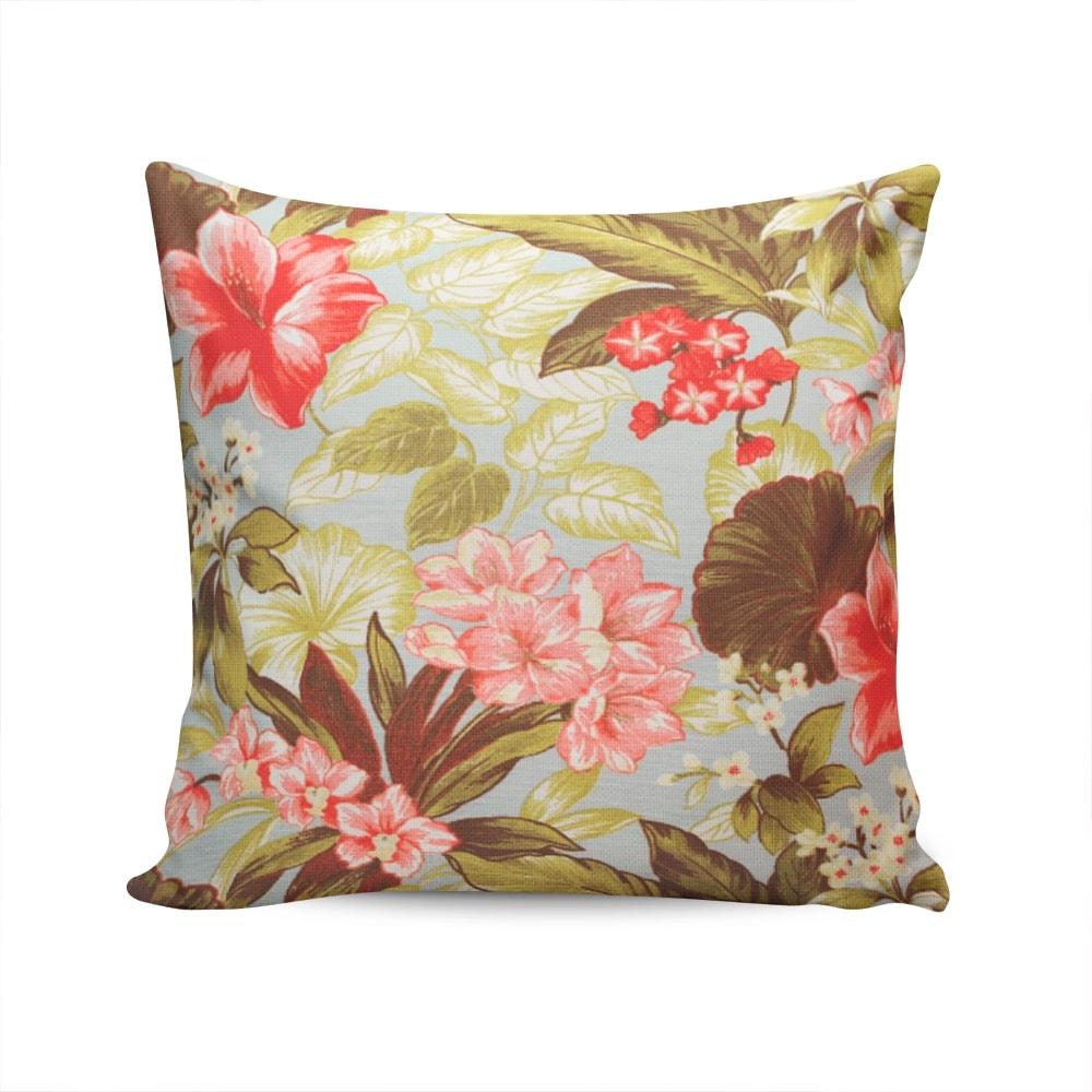 Almofada Waterblock Flores e Folhas - Colorida - Capa em Algodão - 45x45 cm