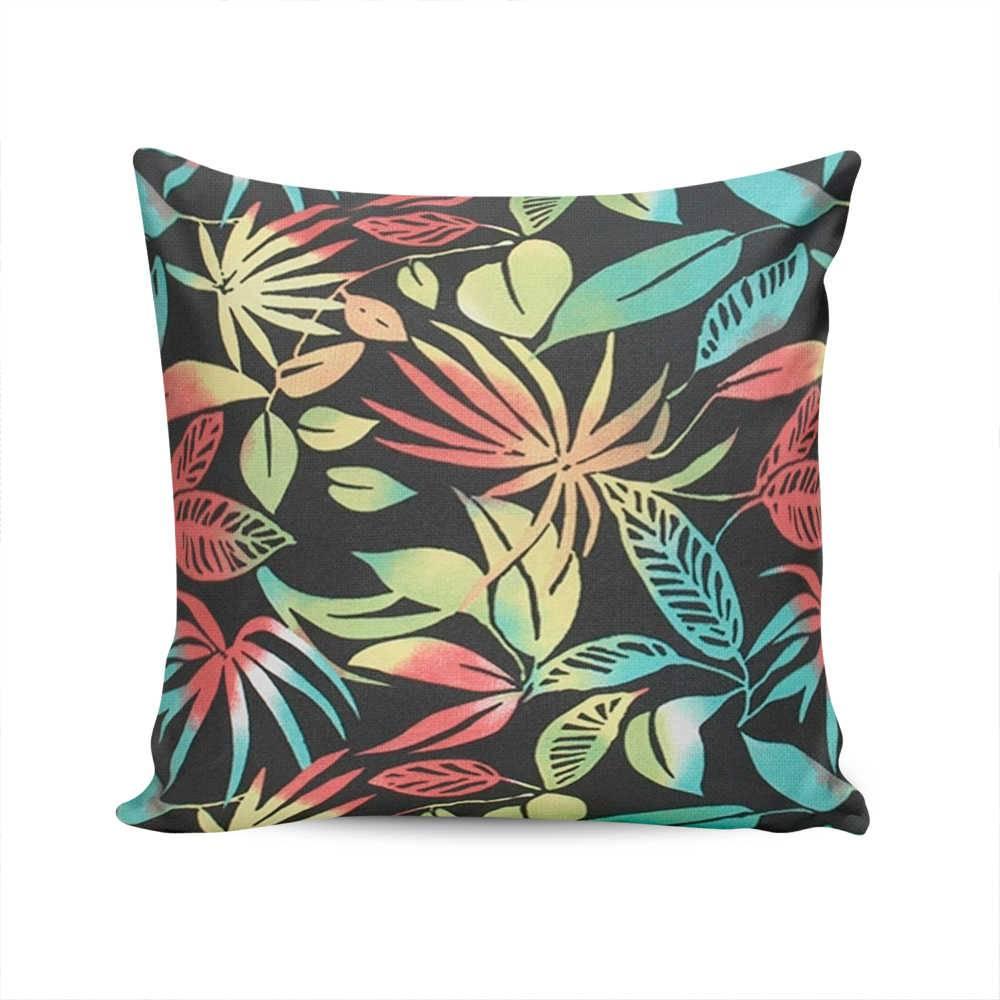 Almofada Waterblock Preta com Estampa de Folhas Coloridas - Capa em Algodão - 45x45 cm