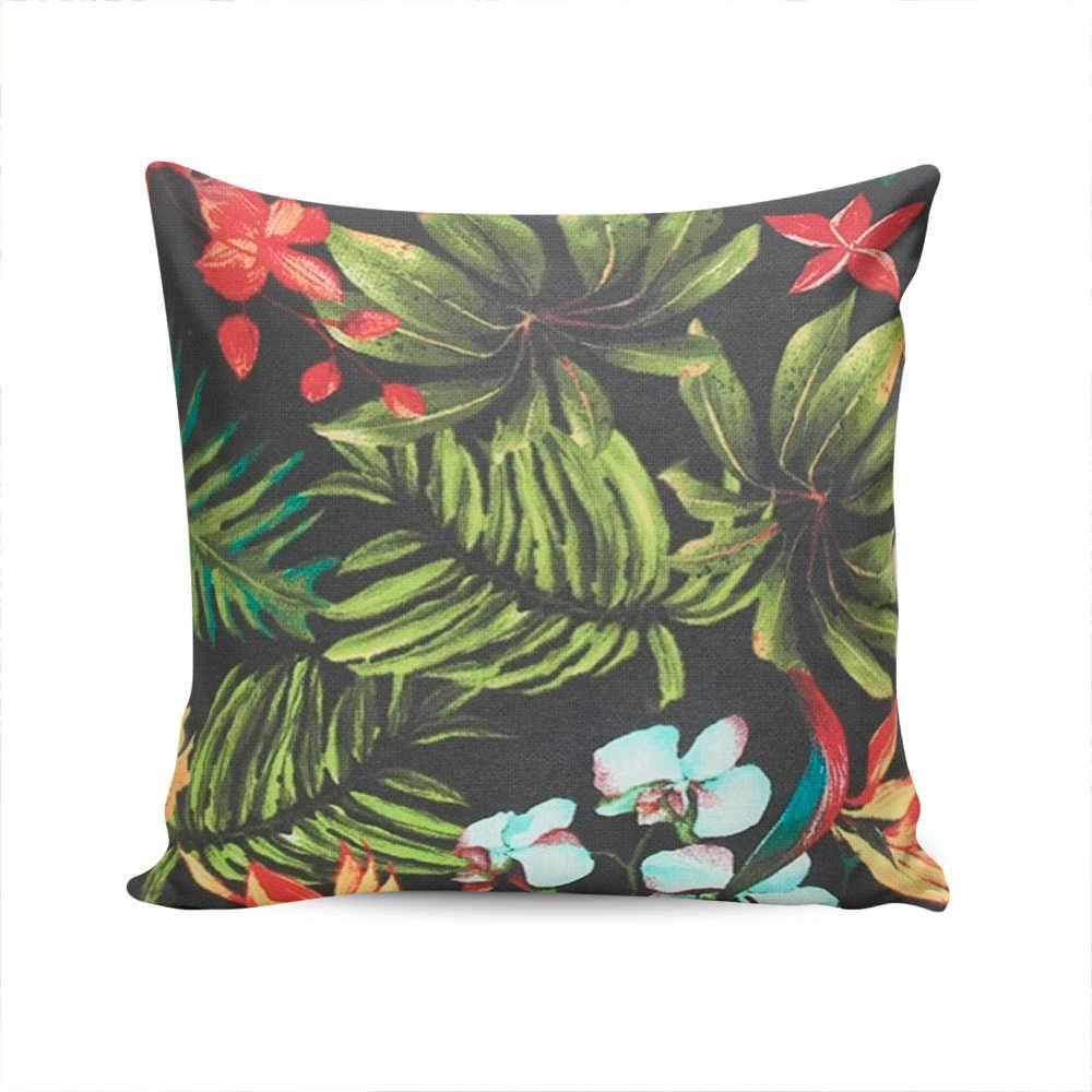 Almofada Waterblock Preta com Estampa de Folhas e Flores - Capa em Algodão - 45x45 cm