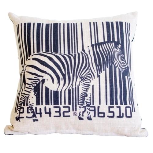 Almofada Zebra e Código de Barras em Tecido - 45x45 cm