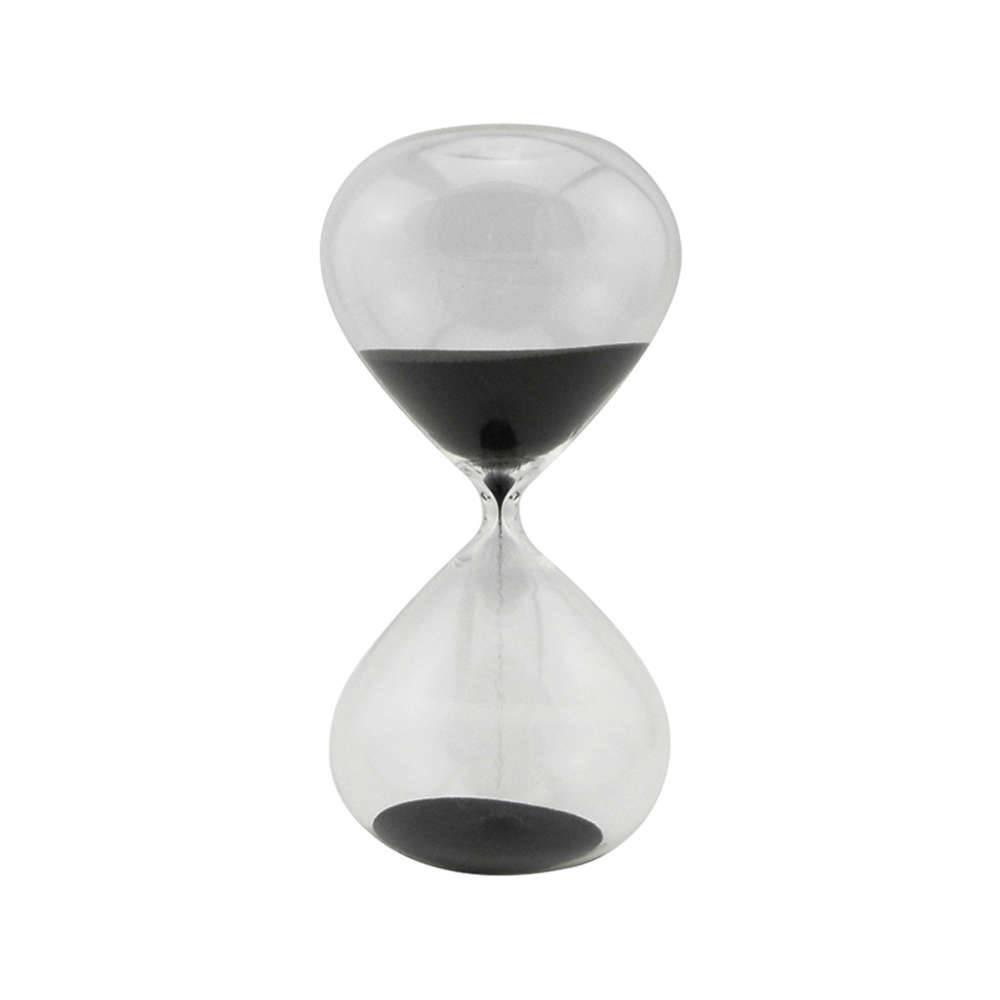 Ampulheta Clear Glass Preta 60 minutos em Vidro - Urban - 25x13 cm
