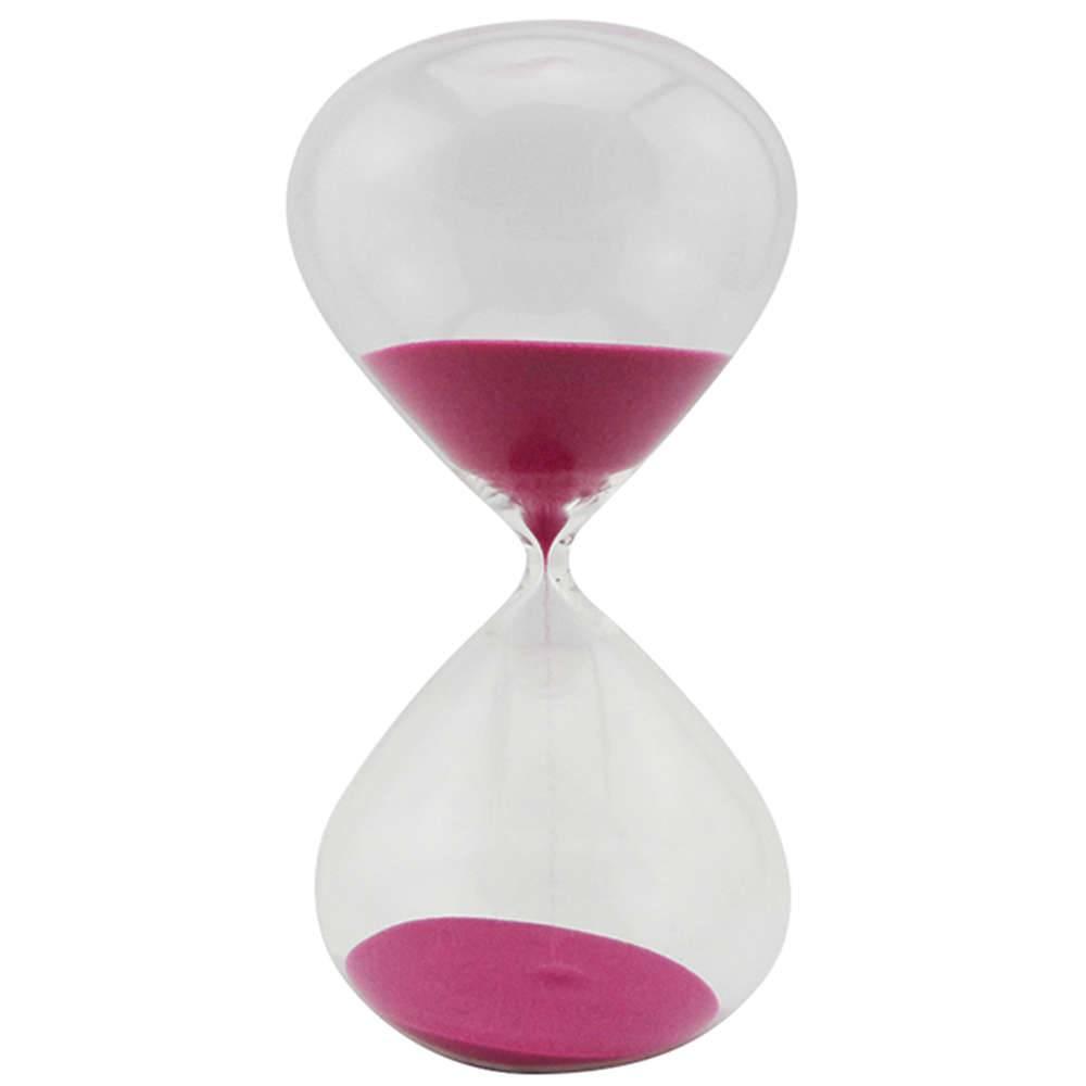 Ampulheta Clear Glass Rosa 60 minutos em Vidro - Urban - 25x13 cm